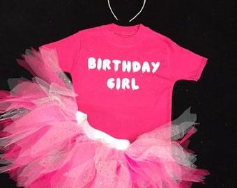 Birthday Girl Tutu Skirt Glow In The Dark Top T-Shirt Baby Grow Toddler Babies