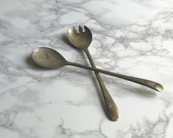Vintage Silver Spoon and Fork Set / Silver Serving Spoons - Silver Serving Spoon and Fork Set