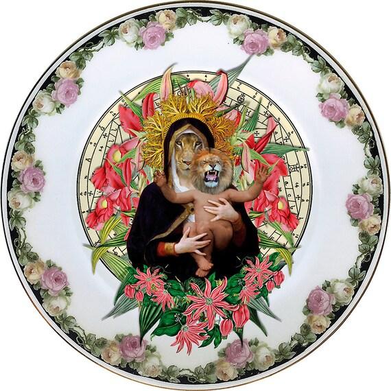 Lioness Queen - Virgin - Madonna - Bouguereau - Vintage Porcelain Plate - #0436
