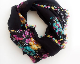 Black floral scarf - Floral scarf Boho scarf Turkish scarf Turkish oya scarf Square scarf Christmas gift ideas Gift for her Black scarf