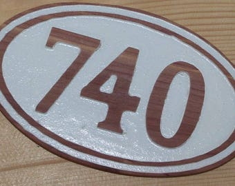 House Numbers Cedar Wood Carved House Oval Address Numeral Sign
