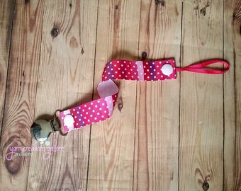 Soothie Pacifier Holder- Pink Striped with White Dots