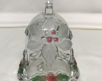 Mikasa Satin Christmas Poinsettia Holly Berry Glass Crystal Bell