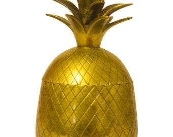 "Vintage Retro Brass Pineapple Trinket Box Canister 8"" 20cm"