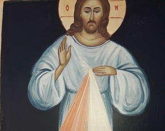 Religious icons.CATHOLIC ICON.Divine Mercy of Jesus .ic xc. religious icons.original icon.Jesus Christ..Catholic icon.greek icon.religious