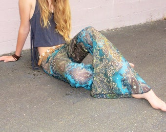 70'S paisley boho mesh lace  hippie chic dance beach resort yoga festival burning man gypsy flare bell bottom pants