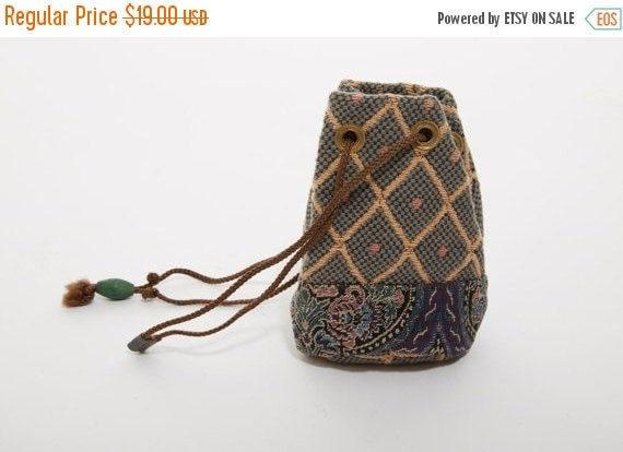 Vtg EMBROIDERED Woven Bag Patchwork Hippie POUCH Coin Purse Bag Boho Festival Batik Resort Beach Tote Handbag Mixed Print Drawstring Grunge
