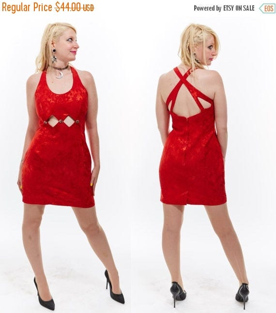 Vtg 90s Jessica McClintock Gunne Sax Red Mini DRESS Cage CUT OUT Rhinestone Studded Brocade Holiday Cocktail Party Prom Retro Kitschy Sexy