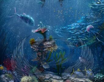 Art Print **Underwater** 13x19 Inches MTG