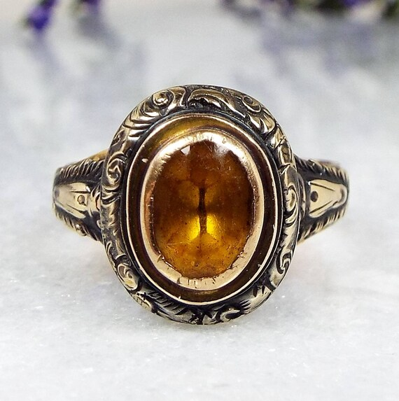 Georgian 9ct Rose Gold Beautiful Ornate Gothic Citrine Paste Ring / Size M 1/2