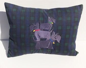 Plaid Cushion, Scottie Dog Gift, West Highland Terrier Gift, Dog Lover Cushion, Westie Gift, West Highland Dog Gift, Westie Dog, Scottie Dog