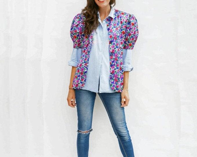 Silk Floral Jacket, Vintage 1980s Multi-Coloured Short Sleeve Evening Jacket, Boho Jacket, Unique Jacket, Collarless Jacket, Bomber Jacket