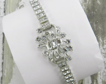 Unique Antique Rhinestone Bracelet Crystal Clear Rhinestones Pave Set In Pot Metal Silver Tone Finish