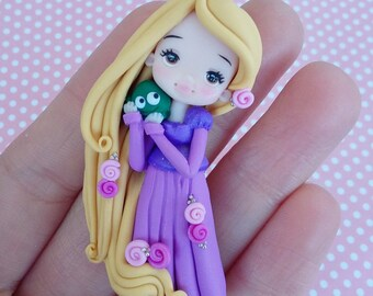 Rapunzel tangled, necklace, disney princess, fanart, handmade, bronze, polymer clay