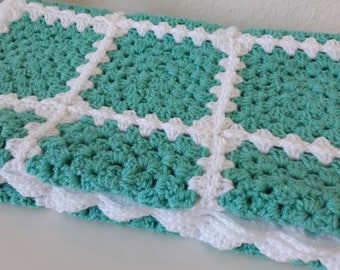 Green Baby Blanket Granny Square Baby Blanket Mint Green Baby Blanket Green Crochet Baby Blanket READY TO SHIP