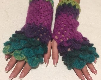 crochet Fingerless crocodile stich women fingerless gloves dragon scale crochet women's gloves women's Arm Warmers  gift Accessory