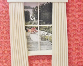 Miniature doll house ivory striped curtains drapes with a straight pelmet