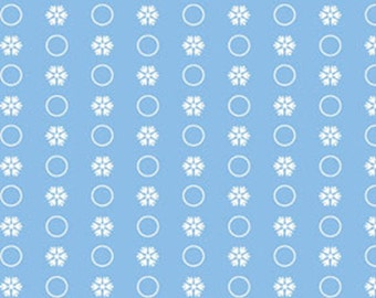 Half Yard Snow Days - Circle Flakes in Powder Blue - Snowflakes - Cotton Quilt Fabric - Mitzi Powers for Benartex Fabrics - 3660-50 (W3525)