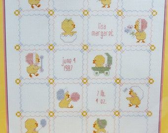Sunset Chicks At Play Baby Counted Cross Stitch Sampler Kit