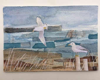 Gulls - original art, mixed media painting