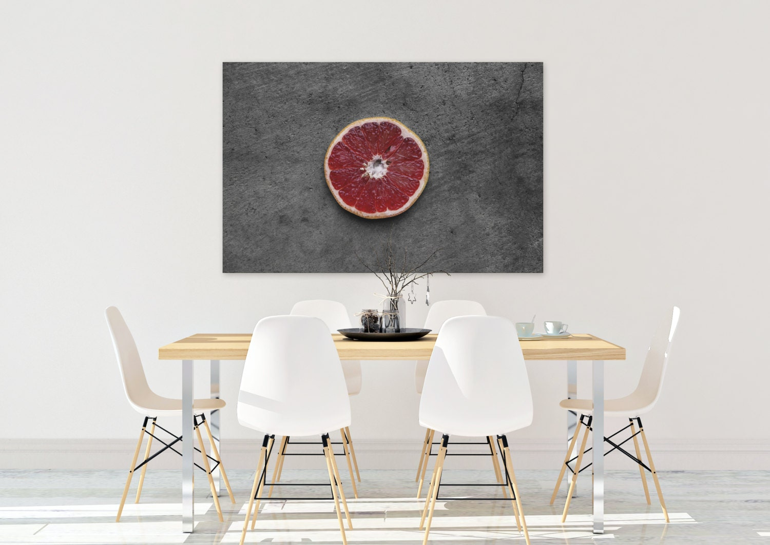 Ruby Grapefruit Food Photography Print Canvas Kitchen Wall Art Dining Room Rustic Citrus Fruit