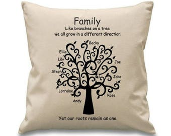 "Family Tree Cotton Canvas Cushion/pillow Cover - 18""x18"" (45cmx45cm)  Mother's Day Gift"