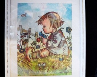"Framed BUKAC Litho Print ""Juvenile""-Hummel Style Art-Simple Decorative White Wood Frame-Flowers-Bee-Fence-Meadow-Orphaned Treasure-022817A"