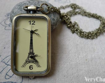 1 PC Double Time Zone Clock Rectangle Pocket Watch Pendant 27x57mm A6275