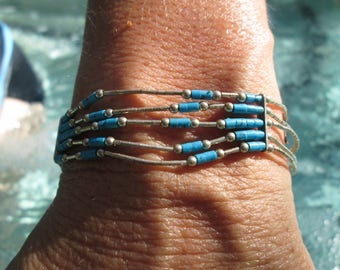Turquoise Colored Beads, Sterling and Liquid Silver Chain Bracelet