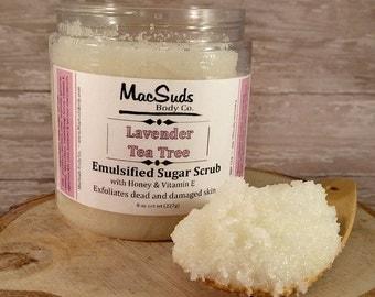 Lavender, Tea Tree, Whipped Sugar, 8oz, Facial Skin Polish, Body sugar Scrub, Sea Salt Scrub, Exfoliating Scrub, Natural Salt Scrub