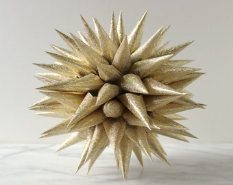 Polish Star Tree Topper Champagne Gold or Solid Gold Embossed | Jezyk Paper Star Modern Folk Art Spiky Tree Topper, 8.5 inch