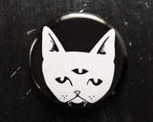 THREE EYED CAT invert - keychain bottle opener, magnet, or pinback button