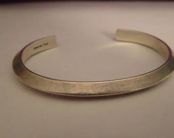 "Sterling Silver Knife Edge Cuff Bracelet by Navajo Artist Elaine Tahe - size 6"" inside diameter"
