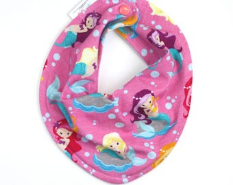 Mermaid baby bib, baby girl bib, bandana bib girl, scarf bib, baby shower gift, baby bib, drool bib, mermaid bib, baby girl gift, girl bibs