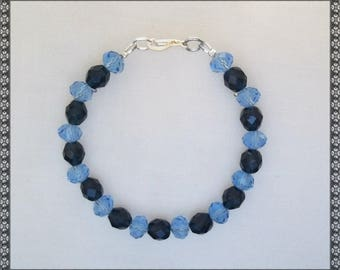 blue bracelet, dark blue bracelet, crystal bracelet, blue crystal, blue