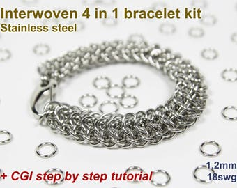 Interwoven 4 in 1 Bracelet Kit, Chainmaille Kit, Stainless Steel, Chainmail Kit, Jump Rings, Chainmail Bracelet Kit, Chainmail Tutorial