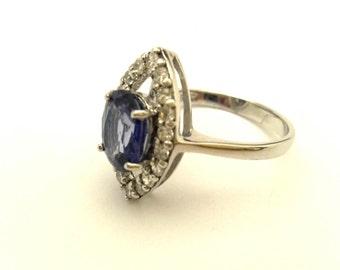 Blue Sapphire Color Quartz Oval White Topaz Round Vintage 925 Sterling Silver Ring Size 7.0