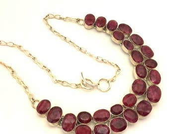 Necklace Collar Ruby Red Faceted Genuine Stone Excellent Solid Silver 925 Vintage
