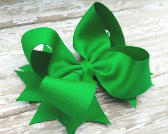 Kelly Green OTT Hairbow - St. Patrick's Day Hair Bow - Stacked  Over the top Hairbows - Birthday Hair Bows - School Hair Clip - Boutique