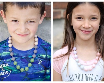 Kids Fidget Necklace - Boys & Girls Children's Jewelry - Silicone Bite Beads Necklace  -  Chew Beads for Child Sensory Autism ADHD