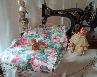 Vintage Radnor A Ramm cotton chintz floral  rose fabric