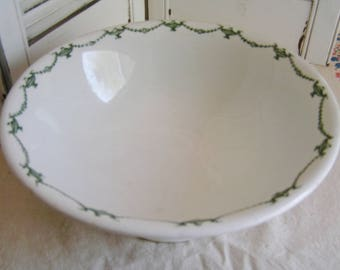 Vintage Large Ironstone Bowl with Transerware Green Urn and Swag Pattern Iroquois China Made in USA