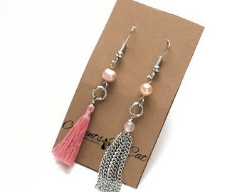 Mismatched Tassel Earrings, Pink Tassel, Silver Chain Tassel, Freshwater Pearls, Pink Pearls, Nickel Free Earrings, Pink Earrings,