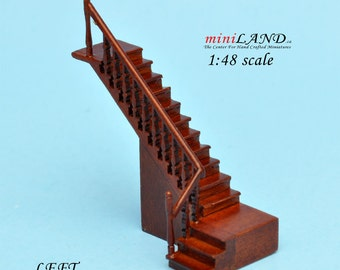 "1:48 1/4"" quarter scale Left staircase Top quality walnut dollhouse miniature"