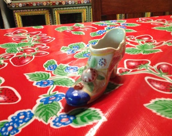 Vintage luster ware shoe with floral decor- Japan