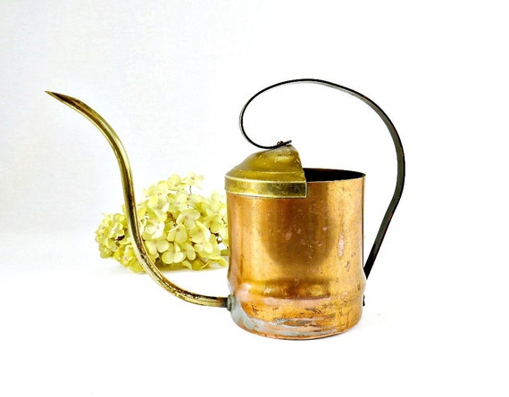 Vintage Copper Watering Can Mid Century Brass Copper