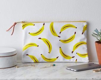 Screen Printed Bananas Yellow Fruit Leather Clutch Purse Bag Handbag