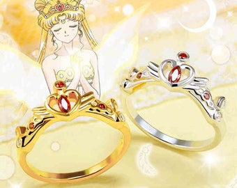 sailor moon princess serenity crown 925 sterling silver cubic zirconia anime manga cosplay - Anime Wedding Rings