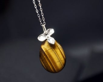 Sterling Silver Tiger's Eye Necklace - Teardrop Tiger's Eye Jewelry - Silver Orchid Flower Pendant