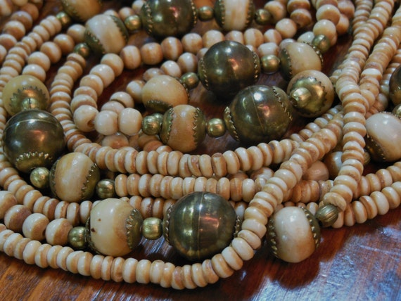 "Beautiful Vintage Native Tribal Carved Bone & Bronze Bead Necklace 4 Strand 30"""